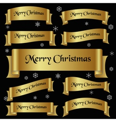 All gold merry christmas slogan curved ribbon vector