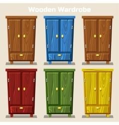 Cartoon colorful closed wardrobe living room vector