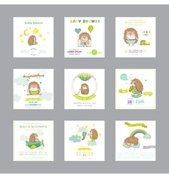 Baby shower card arrival baby card baby hedgehog vector