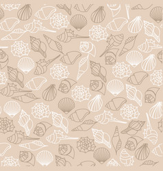 Brown line seamless pattern of seashells vector