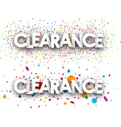 Clearance paper banners vector image vector image