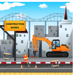 Construction work site with worker and drill truck vector