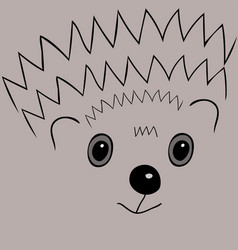 cute face hedgehog little animal vector image vector image