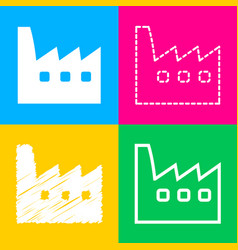 factory sign four styles of icon on vector image