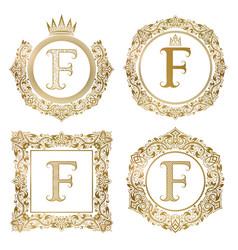 golden letter f vintage monograms set heraldic vector image