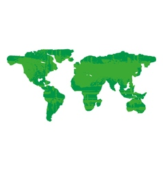 green grunge earth map style isolated on white vector image vector image