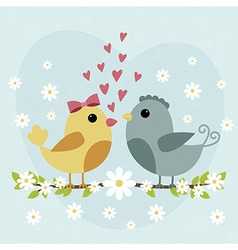 Happy valentines day card with cute bird couple vector