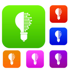 Lightbulb with microcircuit set color collection vector