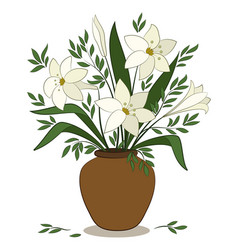 lilies flowers in a vase vector image