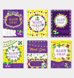 mardi gras carnival set poster invitation vector image vector image