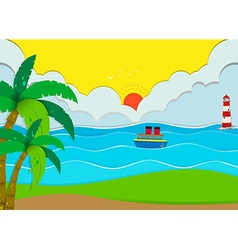 Ocean scene with beach and boat vector