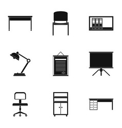 office furniture icons set simple style vector image vector image