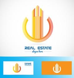 Real estate orange building abstract symbol logo vector
