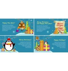 Set of Web Banners Winter Holiday Celebration vector image
