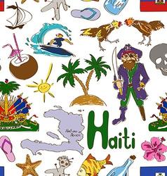 Sketch haiti seamless pattern vector