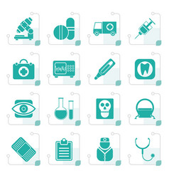 stylized medical hospital and health care icons vector image