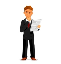Thoughtful businessman is reading newspaper vector image vector image