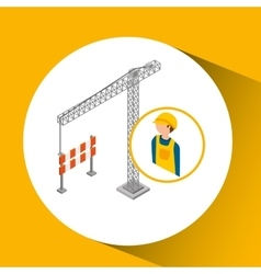 Under construction worker with crane barrier vector