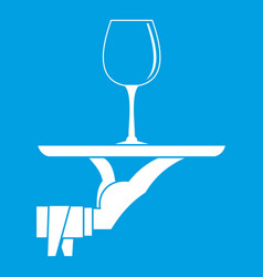 Waiter hand holding tray with wine glass icon vector