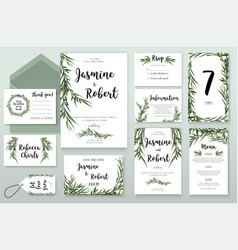 Wedding invitation invite card design with willow vector
