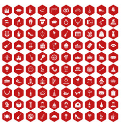 100 banquet icons hexagon red vector