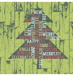 Xmas words tree composition vector