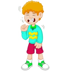 Little boy cartoon having flu vector