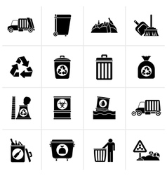 Black garbage cleaning and rubbish icons vector