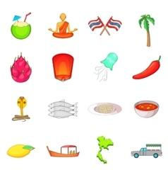 Thailand symbols icons set cartoon style vector
