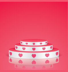 white pedestal with pink hearts vector image