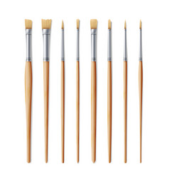Realistic artist paintbrushes set fan flat vector