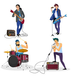 Rock band members isolated musical group singer vector