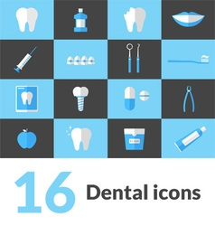 16 flat dental icons vector