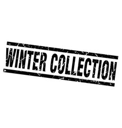Square grunge black winter collection stamp vector