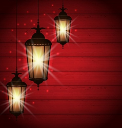 Arabic lamps for holy month of muslim community vector