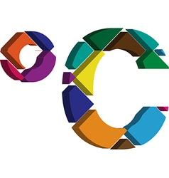 3d celcius symbol vector