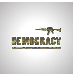 Soldier democracy green font on white background vector