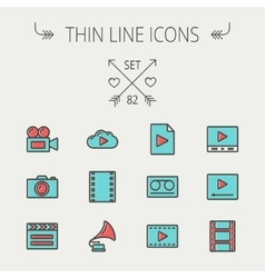 Mutimedia thin line icon set vector
