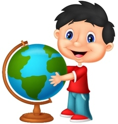 Cute boy looking at globe vector