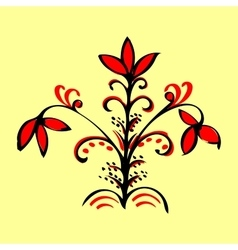 Red magic flower ethnic pattern vector
