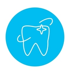Shining tooth line icon vector