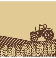 Tractor in field vector