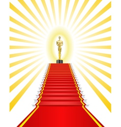 Golden statue red carpet vector