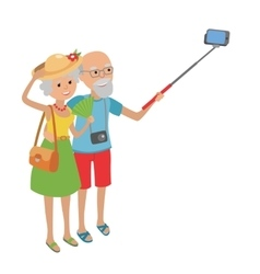 Senior couple makes selfie vector