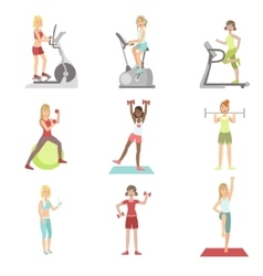 Women training in gym set vector