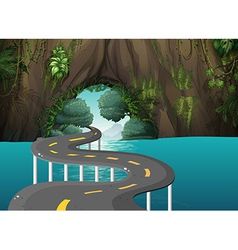 A long road at the cave vector image