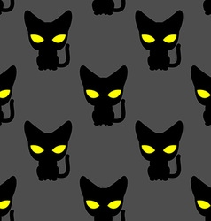 Black cat with yellow eyes at night seamless vector image