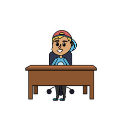 Boy student sitting in the wood desk vector
