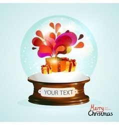 Christmas crystal ball with gifts vector image vector image