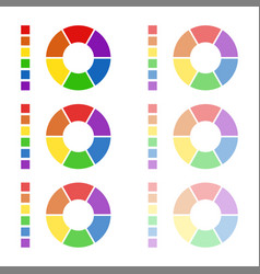 collection of rounded diagrams with spectral color vector image